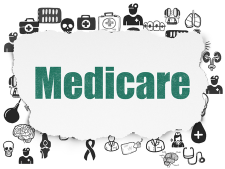Healthcare concept: Painted green text Medicare on Torn Paper background with  Hand Drawn Medicine Icons Stock Photo