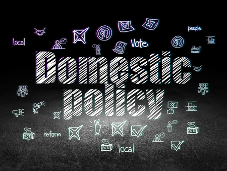 domestic policy: Politics concept: Glowing text Domestic Policy,  Hand Drawn Politics Icons in grunge dark room with Dirty Floor, black background