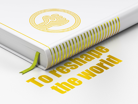 puños cerrados: Politics concept: closed book with Gold Uprising icon and text To reshape The world on floor, white background, 3D rendering