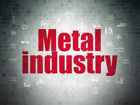 drawn metal: Manufacuring concept: Painted red text Metal Industry on Digital Data Paper background with  Hand Drawn Industry Icons Stock Photo