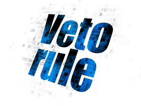 veto: Political concept: Pixelated blue text Veto Rule on Digital background