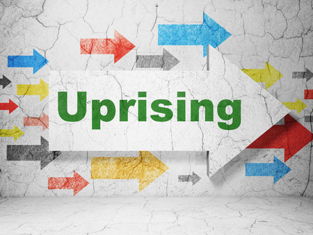 uprising: Politics concept:  arrow with Uprising on grunge textured concrete wall background, 3D rendering