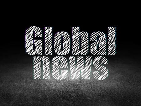 news room: News concept: Glowing text Global News in grunge dark room with Dirty Floor, black background