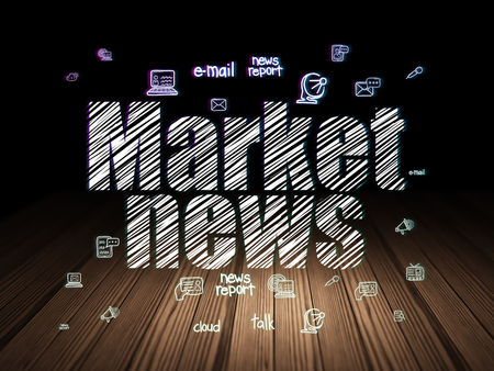 news room: News concept: Glowing text Market News,  Hand Drawn News Icons in grunge dark room with Wooden Floor, black background