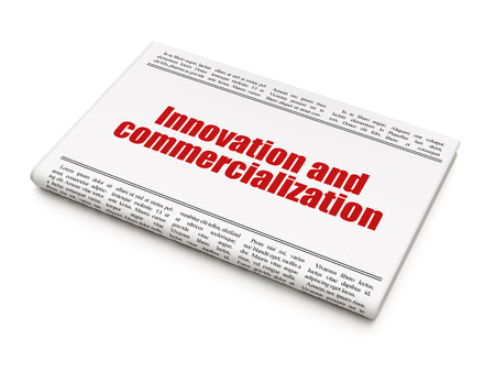 commercialization: Science concept: newspaper headline Innovation And Commercialization on White background, 3D rendering