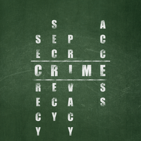 crime solving: Protection concept: Painted White word Crime in solving Crossword Puzzle on School board background, School Board