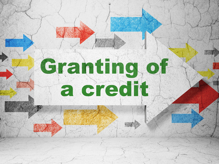 granting: Banking concept:  arrow with Granting of A credit on grunge textured concrete wall background, 3D rendering