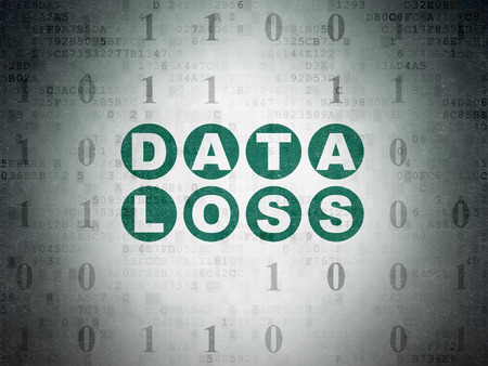 data loss: Data concept: Painted green text Data Loss on Digital Data Paper background with Binary Code