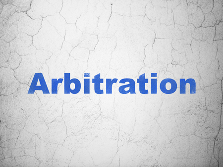 arbitration: Law concept: Blue Arbitration on textured concrete wall background