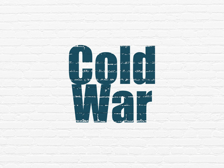 cold war: Political concept: Painted blue text Cold War on White Brick wall background