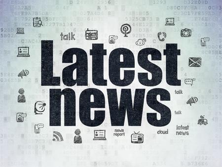 Concept Actualités: Texte noir peint Dernières nouvelles sur fond de papier numérique avec Icônes Nouvelles dessinées à la main Banque d'images