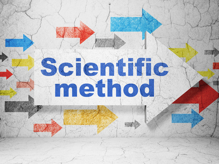 Science concept:  arrow with Scientific Method on grunge textured concrete wall background, 3D rendering