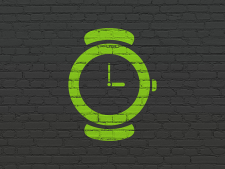 cronologia: Time concept: Painted green Watch icon on Black Brick wall background