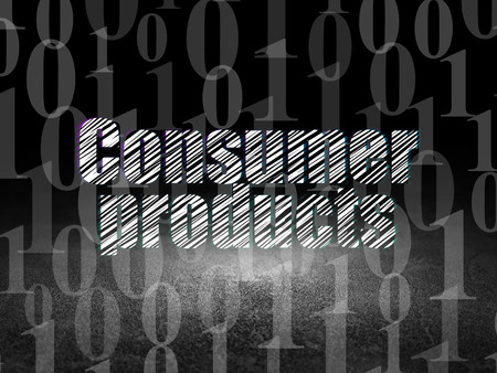 consumer products: Business concept: Glowing text Consumer Products in grunge dark room with Dirty Floor, black background with  Binary Code Stock Photo