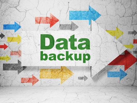 data backup: Information concept:  arrow with Data Backup on grunge textured concrete wall background, 3D rendering