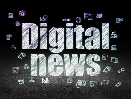 news room: News concept: Glowing text Digital News,  Hand Drawn News Icons in grunge dark room with Dirty Floor, black background