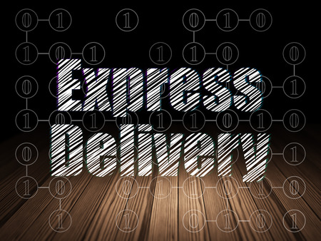 delivery room: Finance concept: Glowing text Express Delivery in grunge dark room with Wooden Floor, black background with Scheme Of Binary Code