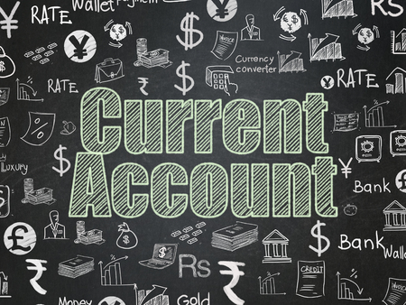 current account: Money concept: Chalk Green text Current Account on School board background with  Hand Drawn Finance Icons, School Board