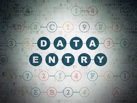 Data concept: Painted blue text Data Entry on Digital Data Paper background with Hexadecimal Code