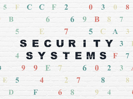 hexadecimal: Security concept: Painted black text Security Systems on White Brick wall background with Hexadecimal Code Stock Photo
