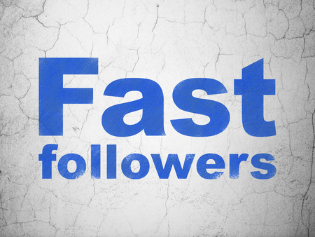 followers: Business concept: Blue Fast Followers on textured concrete wall background Stock Photo