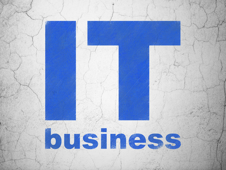 business it: Finance concept: Blue IT Business on textured concrete wall background