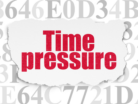 time pressure: Timeline concept: Painted red text Time Pressure on Torn Paper background with  Hexadecimal Code