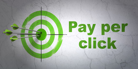 pay wall: Success advertising concept: arrows hitting the center of target, Green Pay Per Click on wall background, 3D rendering