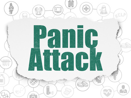 panic attack: Healthcare concept: Painted green text Panic Attack on Torn Paper background with Scheme Of Hand Drawn Medicine Icons