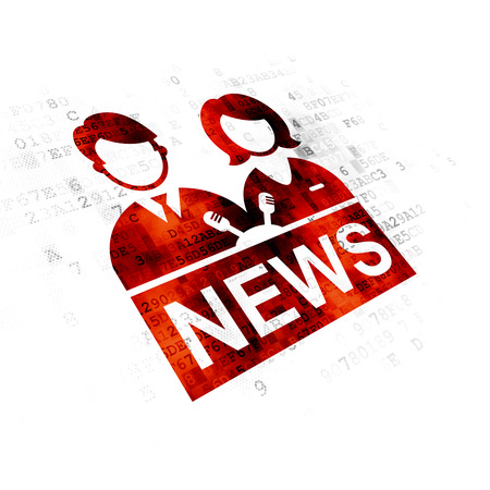 pixelated: News concept: Pixelated red Anchorman icon on Digital background Stock Photo