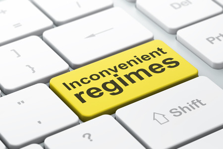 inconvenient: Politics concept: computer keyboard with word Inconvenient Regimes, selected focus on enter button background, 3D rendering