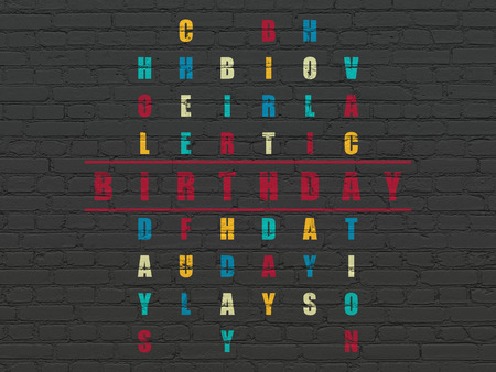 crossword: Entertainment, concept: Painted red word Birthday in solving Crossword Puzzle