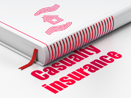 casualty: Insurance concept: closed book with Red House And Palm icon and text Casualty Insurance on floor, white background, 3D rendering