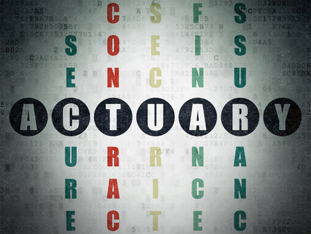 actuary: Insurance concept: Painted black word Actuary in solving Crossword Puzzle on Digital Data Paper background