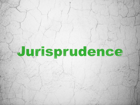 jurisprudencia: Law concept: Green Jurisprudence on textured concrete wall background