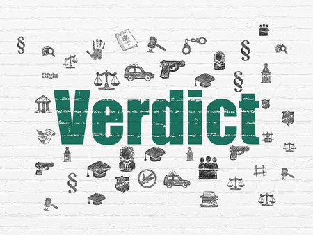 verdict: Law concept: Painted green text Verdict on White Brick wall background with  Hand Drawn Law Icons Stock Photo