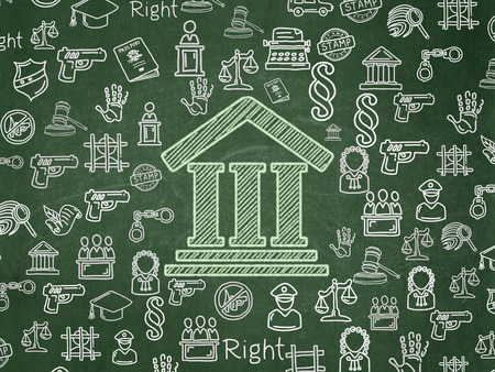building regulations: Law concept: Chalk Green Courthouse icon on School board background with  Hand Drawn Law Icons, School Board