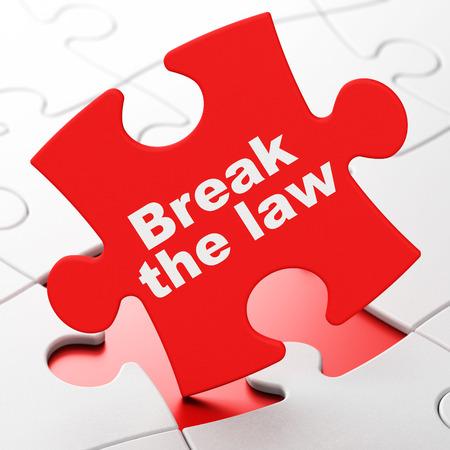 Concepto de ley: romper la ley sobre fondo de piezas de rompecabezas rojo, renderizado 3D Foto de archivo