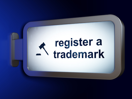 auctioning: Law concept: Register A Trademark and Gavel on advertising billboard background, 3D rendering Stock Photo