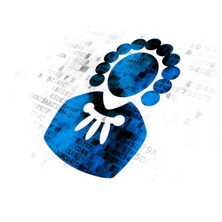 data protection act: Law concept: Pixelated blue Judge icon on Digital background