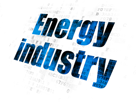 Manufacuring concept: Pixelated blue text Energy Industry on Digital background Stock Photo