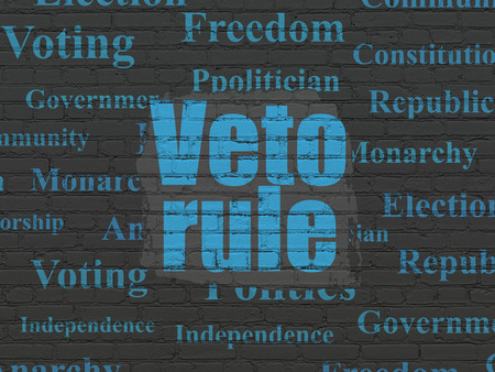 veto: Politics concept: Painted blue text Veto Rule on Black Brick wall background with  Tag Cloud Stock Photo