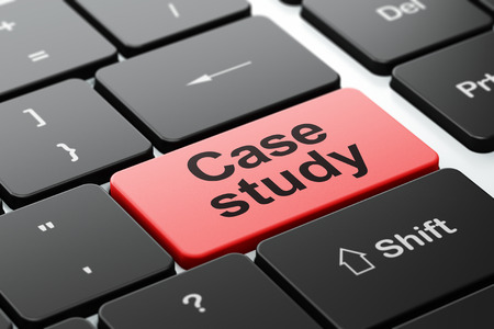 the case selected: Education concept: computer keyboard with word Case Study, selected focus on enter button background, 3D rendering Stock Photo