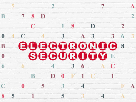 hexadecimal: Safety concept: Painted red text Electronic Security on White Brick wall background with Hexadecimal Code