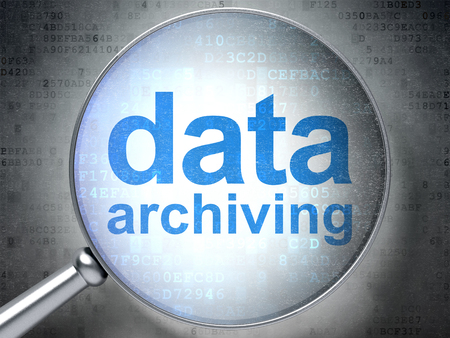 data archiving: Data concept: magnifying optical glass with words Data Archiving on digital background, 3D rendering