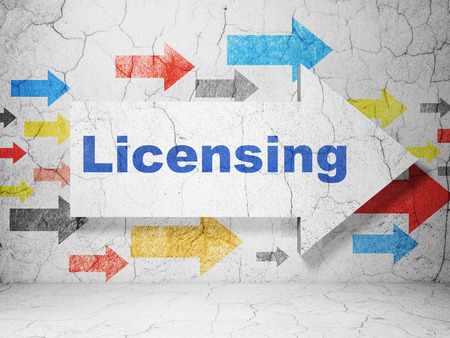 licensing: Law concept:  arrow with Licensing on grunge textured concrete wall background, 3D rendering
