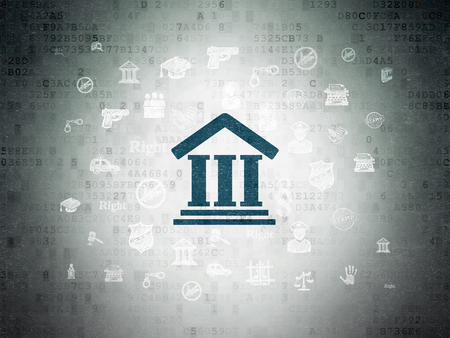 data protection act: Law concept: Painted blue Courthouse icon on Digital Data Paper background with  Hand Drawn Law Icons