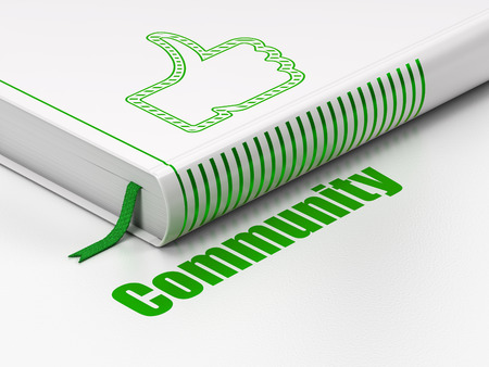 closed community: Social network concept: closed book with Green Thumb Up icon and text Community on floor, white background, 3D rendering