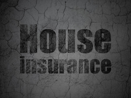 abandoned house: Insurance concept: Black House Insurance on grunge textured concrete wall background