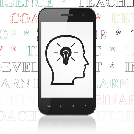 head tag: Learning concept: Smartphone with  black Head With Lightbulb icon on display,  Tag Cloud background, 3D rendering Stock Photo